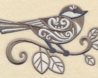 Filigree Chickadee Embroidered Flour Sack Hand/Dish Towel