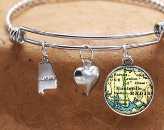 Huntsville Alabama Map Charm Bracelet State of AL Bangle Cuff Bracelet Vintage Map Jewelry Stainless Steel Bracelet