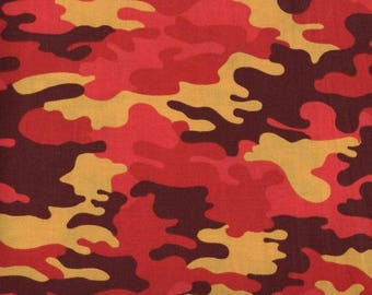 Blaze camo fabric by the yard - camouflage fabric - orange camo - red camo - #18032