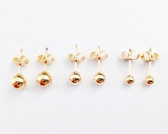 Gold Ball Earrings / Gold Stud Earrings / Gold Filled Earrings / Gold Dot Earrings / Little gold Ball Earrings