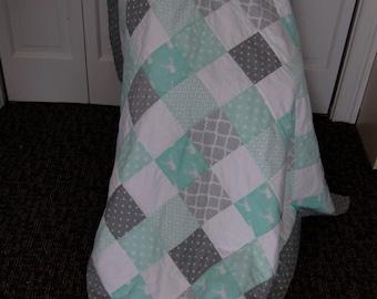 Baby Boy Quilt, Hand Quilted, Modern Nursery Blanket, Baby Shower Gift