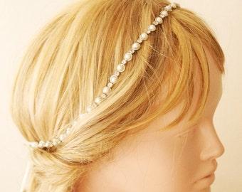 Bridal Headband, Bridal Wedding Headband, Rhinestone and Pearl Crown, Wedding Trends Hair Band