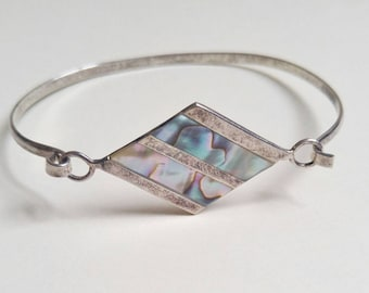 Gorgeous vintage 1950s hand made sterling silver and inlaid abalone shell diamond shape clasp cuff bracelet