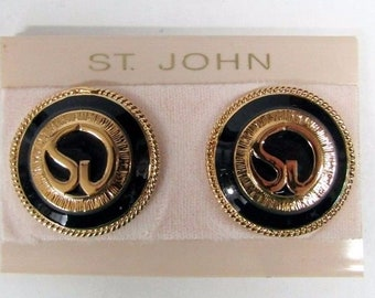 NEW St. John Knits Vintage Clip-On Earrings 80'S Gold/Black Enamel Logo Round