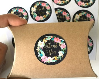12  thank you stickers - floral thank you label - wedding favor sticker - wedding favors - envelope seals - gift wrapping stickers - flowers