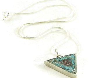 Orgone Energy Triangle Pendant in Antique Silver with Turquoise Gemstone - Unisex Necklace - Men's Necklace - Artisan Jewelry