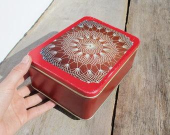 Vintage Tin Box, Sewing Accessories Box, Lidded Tin, Red Metal Box, Estonia Tallinn, Metal Candy Box, Kitchen Storage
