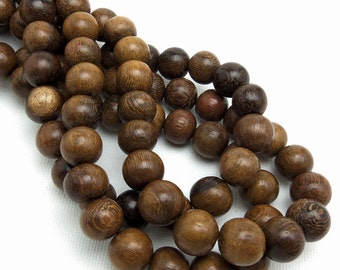 Robles Wood Bead, 10mm, Round, Smooth, Natural Wood Beads, Large, 16 Inch Strand - ID 1038