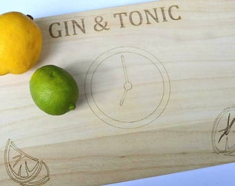 G&T Time Chopping Board, Gin And Tonic Wooden Board, Gin Lovers, Gin Present, Gin And Tonic Gift And Keepsake.