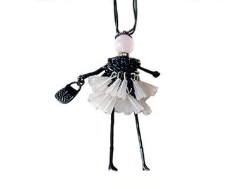 Doll pendant necklace - black and pink