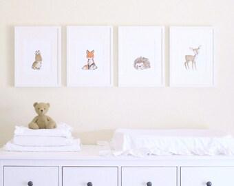 "Woodland Nursery Art, forest decor, Woodland Friends ""A"" SET OF 4, giclée prints, Kit Chase artwork, 5x7, 8x10, 11x14"