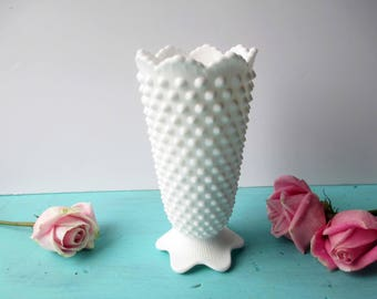 Vintage Fenton Milk Glass Hobnail Vase - Cottage Chic