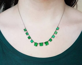 Stunning Antique Silver Emerald Bright Green Square Cut Paste Glass Riviere Choker Open Back Art Deco Style Necklace