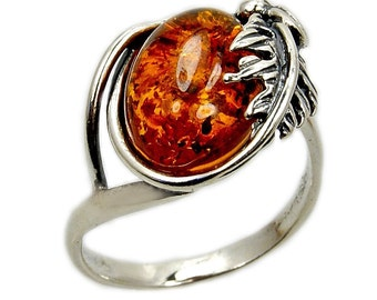 Sterling Silver Natural Honey Baltic Amber Ring AE352 Jewelry The Silver Plaza