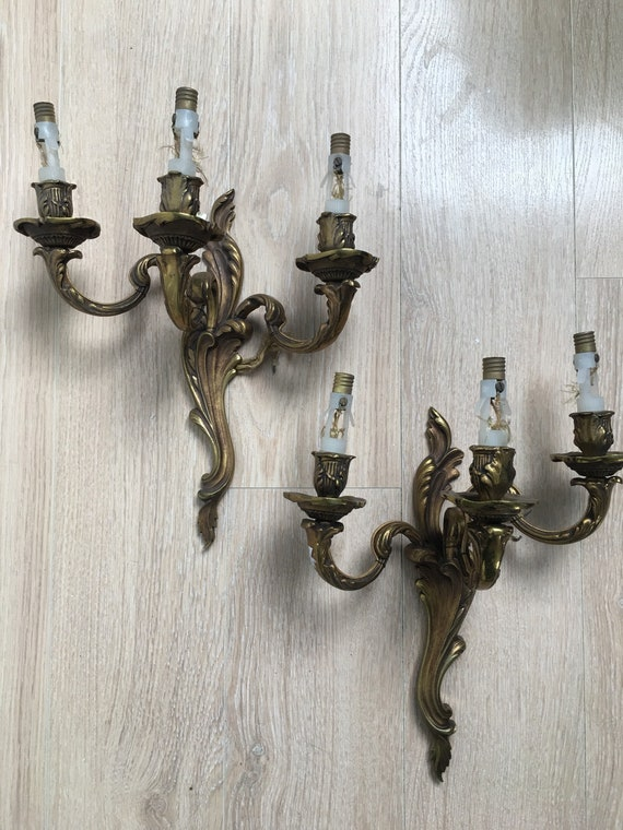 Vintage gilt metal pair of electric wall sconce lights