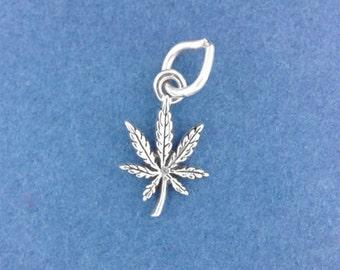 MARIJUANA LEAF .925 Sterling Silver Charm, Pot Leaf, Cannabis, MINIATURE Tiny Small - elp621
