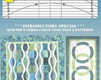 SALE CLEARANCE - Quilter's Versa Curve Tool - Free Quilt Patterns - Falling Waters - Winner's Circle - Time to Quilt #TTQVC-Bundl1