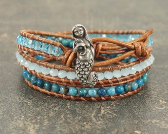 Mermaid Jewelry Silver Teal Turquoise Mermaid Bracelet Bohemian Beach Triple Leather Wrap Bracelet