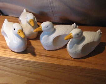 DUCK NAPKIN RINGS / Set of 4 Vintage Duck Ceramic Napkin Holders/ Duck Collector/Kitchen Serving