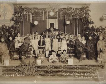 "2 Original Antique Photographs ~ Rockwood School Theater Play ""The Nightingale""  Hans Christian Andersen Fairy Tale Children Costumes 1900s"