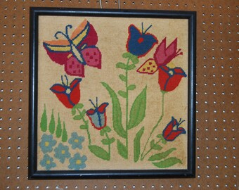 Vintage Handmade Framed Needlepoint BUTTERFLIES AND TULIPS