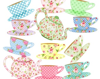 Instant Download  Digital Clipart 10 Cups, 2 Teapots in Both Large and Small Sizes 300 dpi PNG and JPG graphics Personal and Commercial Use