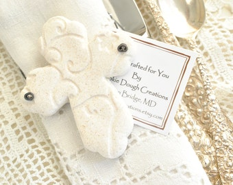 Personalized Imprinted Cross Baptism / Communion / Wedding Favors Set of 10 Salt Dough Easter Napkin Ring Ornaments