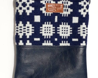 The 'No Waste' leather & Welsh wool messenger  - Teifi Blue
