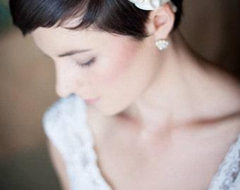 Bridal Headband, Ivory Wedding Hair Flower Headband, Bridal Accessories, Bridal Hair Piece, Bridal Flower Headband by Selinish