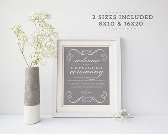 """Unplugged Wedding Sign   Printable Unplugged Ceremony Sign   Instant Download   Wedding Day Signs Swirls   8x10"""" and 16x20""""   No. EDN 2010"""