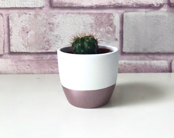 Mini Rose Gold dipped Pot with Cactus // Metallic // Succulent // Planter // Desk Accessory