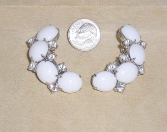 Vintage Kramer Milk White Glass Clip On Earrings With Clear Rhinestones 1950's Signed Jewelry 11314
