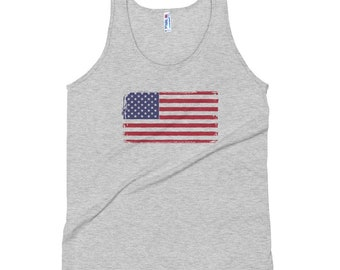 Mens Womans Distressed American Flag Tank Top