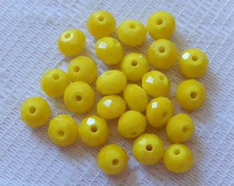 24  Bright Opaque Lemon Yellow Facected Rondelle Crystal Beads   8mm x 6mm
