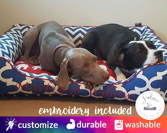 X-Large Dog Bed with Bolster Sides | Red, Blue, White, Chevron, Elephant | Washable - Design Your Own!