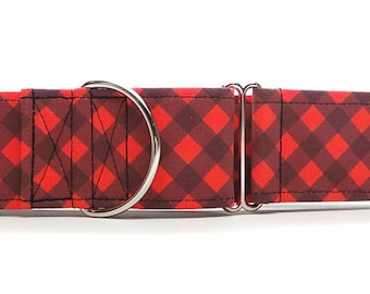Red Lumberjack Plaid CANVAS Dog Collar (Martingale, Buckle or Tag)