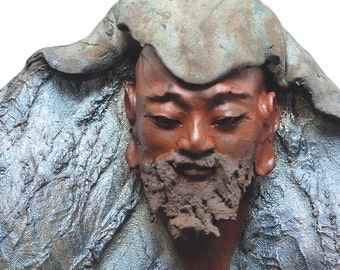 African Man Wall Art, Bodhidharma Wise Bearded Old Man Blue Robe Wall Hanging Sculpture