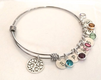 Personalized Family Tree Bracelet - Silver Mom Bracelet - Family Tree Jewelry - Mother's Day Jewelry, Mother's Day Gift for Grandma