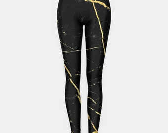 Black and Gold Marble leggings Grunge Clothing funny fun tumblr hipster swag grunge goth punk new retro vtg