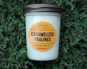 Caramelized Pralines Soy Candle   Caramelized Pralines Candle   Soy Candle Gift   Spring Scented Candle  