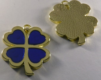 Four Leaf Metal  Charm - Polished Brass Plated - Enamel Color - Red, Blue or Silver Glitter Color, Good Luck Charm -  Greek Product