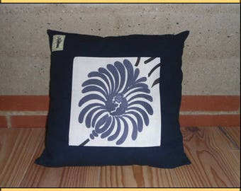 "CUSHION ""blue flower square"""