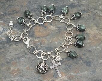 Seraphinite Gemstone Rosary Bracelet, Sterling and Silver Fill Rosary 'Charm' Bracelet, 1 Decade Charm Bracelet, Catholic Jewelry