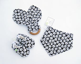 Sale SMALL Dice / Soft Sole Shoes - Bandana Bib - Ring/ Baby Gift Ready to Ship