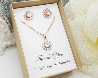 Rose Gold Bridesmaid CZ Jewelry Set ,Bridesmaid Gift, Maid of Honor Jewelry, Gift Box, Flat Halo Set-Rose Gold
