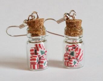 Christmas Peppermint Taffy in Candy Jar Glass Bottle Earrings, Hypoallergenic, Miniature Food Jewelry