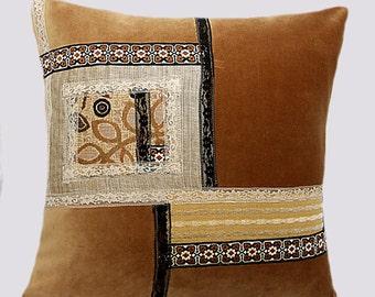 "Decorative pillow, Beige mixed fabric with applique throw pilow case, fits 18'x18"" insert, Toss pillow case, Cushion case."