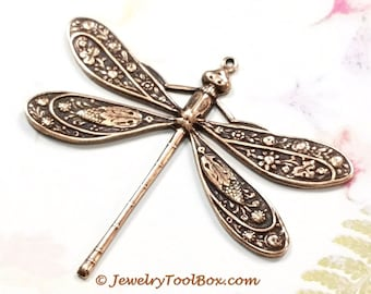 Antique Copper Dragonfly Pendant, Brass Stamping, Extra Large, 42x50mm, Lead Free, Nickel Free, 1 to 20 Pieces Bulk Price, #07C