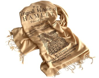 Hamlet Scarf. Shakespeare Book Print Linen-Weave Scarf. Title Page Book Print, 1604. Literary, theatre gift for actors, writers, playwrights