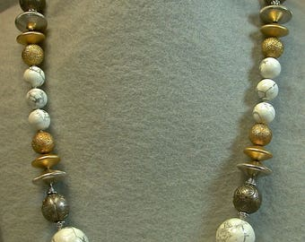 Antique Chinese Qing Silver Bead Knotted Neckace, Vintage White Gray Howlite Beads,Vintage German Gold Glass Beads, Silver